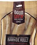 Good Lovin Chicken And Peanut Butter Flavored Rawhide Roll Dog Chews, 13.2-oz